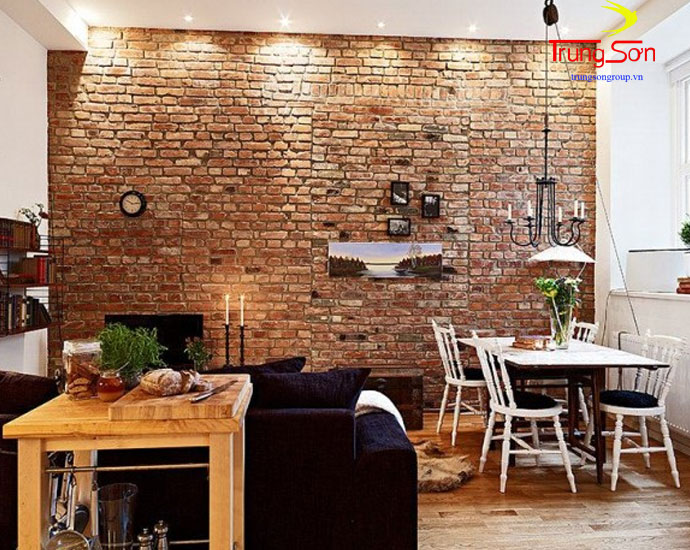 Gạch cổ dán trang trí phòng ăn