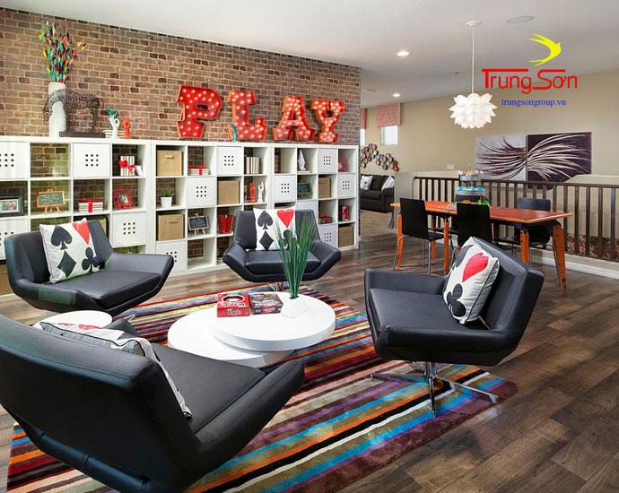 trang trí phòng khách bằng gạch cổ và nội thất hiện đại