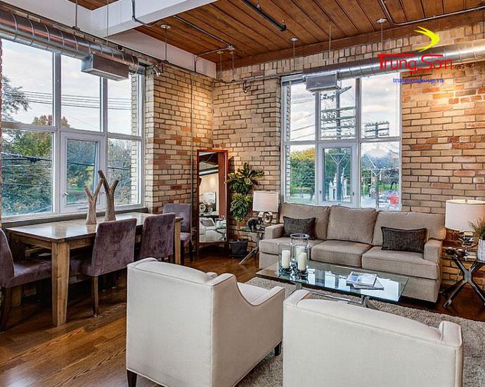 phong cách phòng khách công nghiệp với gạch cổ ốp tường