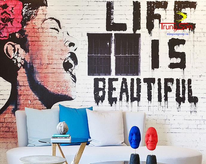vẻ tranh trang trí phòng khách lên tường gạch cổ